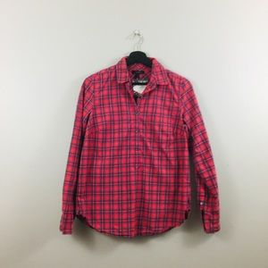 J.Crew | Red Plaid Print Popover Top